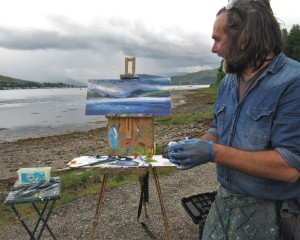Jonathan Shearer au plein air in Lochcarron...