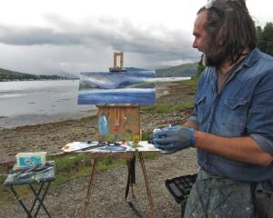 Jonathan Shearer au plein air in Lochcarron...
